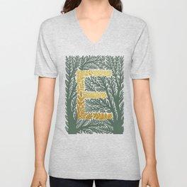 Botanical Metallic Monogram - Letter E Unisex V-Neck