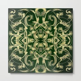 dark green Digital pattern with circles and fractals artfully colored design for house and fashion Metal Print