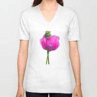 poppy V-neck T-shirts featuring Poppy by Guna Andersone & Mario Raats - G&M Studi