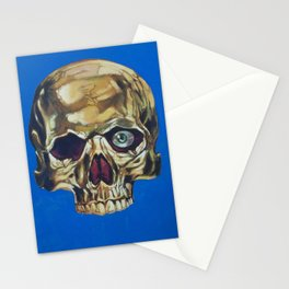Golden Skull With One Green Eye Stationery Cards