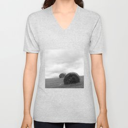 Mountain Farm, Hay Rolls, Impending Storm by Steve Ricci Unisex V-Neck