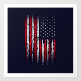 Red & white American flag on Navy ink Art Print