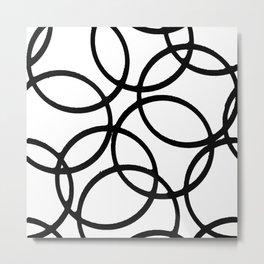 Interlocking Black Circles Artistic Design Metal Print