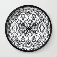 damask Wall Clocks featuring Damask by Pink Fox Designs