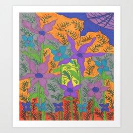 Violets in the Sky Boho Floral Art Print