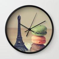 macaroons Wall Clocks featuring Macaroons by Adeline Lee