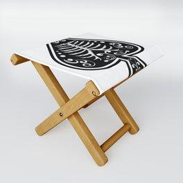 Ace of spades,Ribcage art, custom gift design Folding Stool
