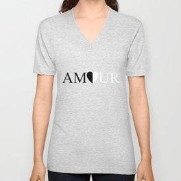 AMOUR LOVE Black And White Design Unisex V-Neck