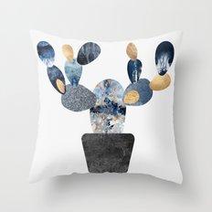 Blue & Gold Cactus Throw Pillow