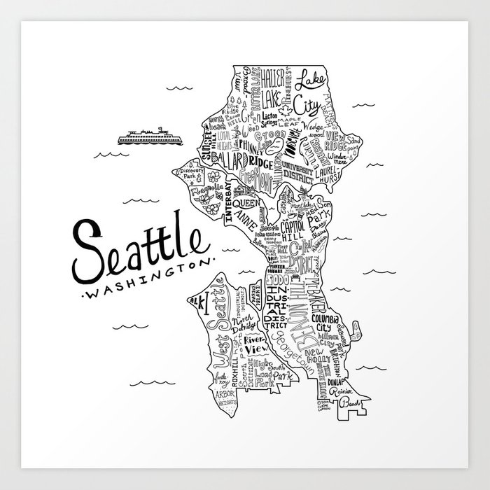 Seattle Map Art Print By Clairelordon Society6