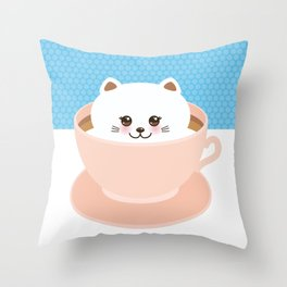 Cute Kawai cat in pink cup, coffee art Throw Pillow