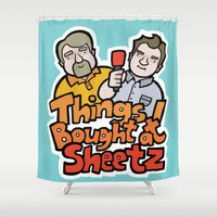 dwight Shower Curtains featuring Things I Bought At Sheetz: Official Fan Merchandise by Things I Bought At Sheetz