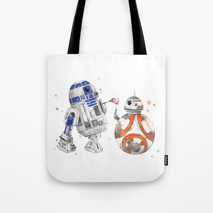 R2-D2 & BB-8 Watercolour Illustration Tote Bag