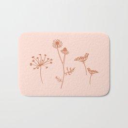 Wildflower Line Art Bath Mat