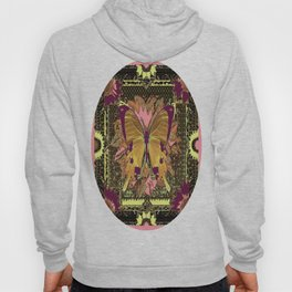 Western Style Swallow Tail Butterfly in pinks and Greenish Black Designs Hoody