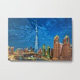 Burj Khalifa Skyscraper Dubai United Arab Emirates (UAE) City Lights Portrait Metal Print