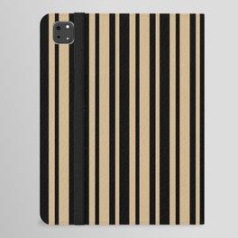 Tan Brown and Black Vertical Var Size Stripes iPad Folio Case