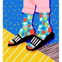 Notebook - Demo - memphis retro 80s throwback hightop socks styles bright happy art slides - Wacka