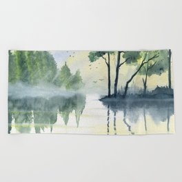 Foggy Morning 2 Beach Towel