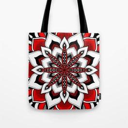 Mandala : Red Flower Mandala Tote Bag