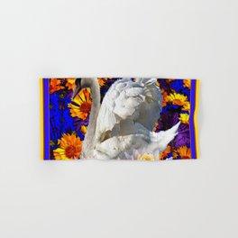 WHITE SWAN YELLOW-BLUE FLOWERS AQUATIC ART Hand & Bath Towel