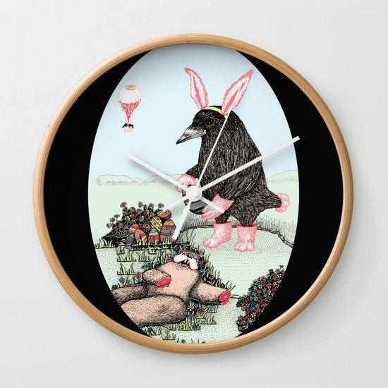 Crow Serie :: Easter Crow Wall Clock