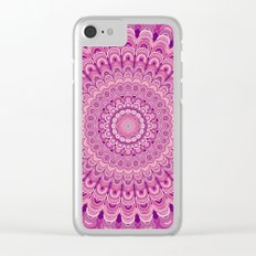 Pink flower mandala Clear iPhone Case