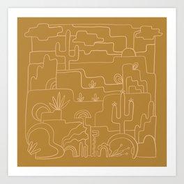 saguaro cactus line drawing Art Print