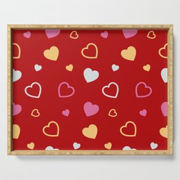 Stylized hearts pattern 2 Serving Tray