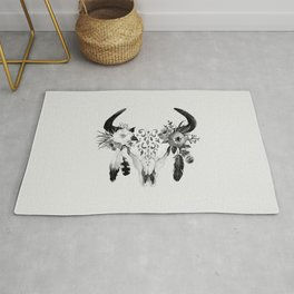 Floral bohemian watercolor animal stag head skull peach pink spiritual boho home wall decor Rug