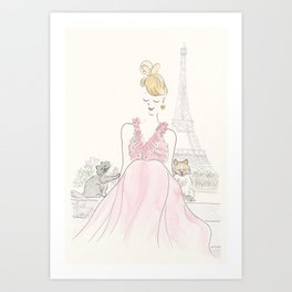 Eiffel Tower Paris with Red Dress, Pomeranian Pup and Cat Art Print