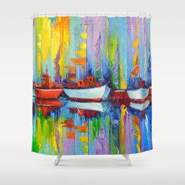 Sailboats berth Shower Curtain