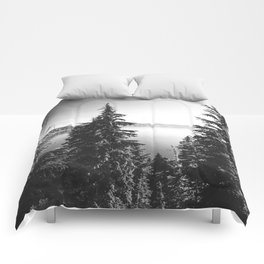 Mountain Lake Forest Black and White Nature Photography Comforters