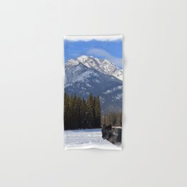 """Banff Wolf in Winter with Mt Cascade"" Hand & Bath Towel"