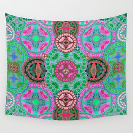 Uplifting Refreshing Mega Mandala in Pink and Green Wall Tapestry