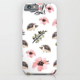 Floral hedgehog iPhone Case