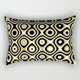 Black gold and white dots and circles Rectangular Pillow
