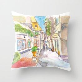 Capri Italy Crooked Alleys Stroll Throw Pillow