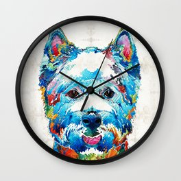 Colorful West Highland Terrier Dog Art Sharon Cummings Wall Clock