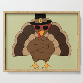 Cool Turkey with sunglasses Happy Thanksgiving Serving Tray