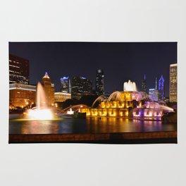 Chicago skyline and Buckingham Fountain at night. Rug