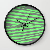 stripes Wall Clocks featuring Green & Gray Stripes by 2sweet4words Designs