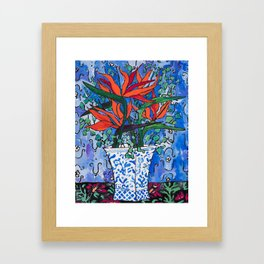 Birds of Paradise in Blue After Matisse Framed Art Print