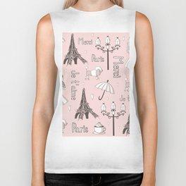Paris Girl - Pink Biker Tank