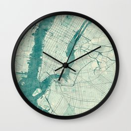 New York Map Blue Vintage Wall Clock
