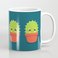 kawaii Mugs featuring Kawaii Cactus Dude by Steph Dillon