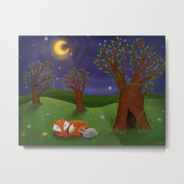 Fox And Bunny Dreaming The Night Away Metal Print