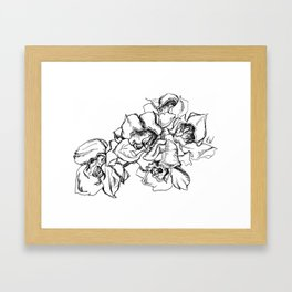 Flowers Line Drawing Framed Art Print