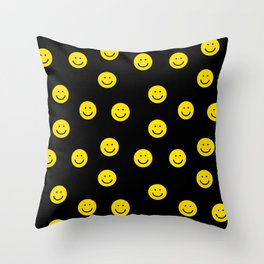 Smiley faces yellow happy simple rainbow colors pattern smile face kids nursery boys girls decor Throw Pillow