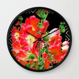 Red Orange Holly Hocks Pattern Black Color Floral Art Wall Clock